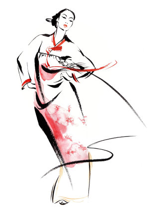 Korean traditional dress illustration by Katharine Asher