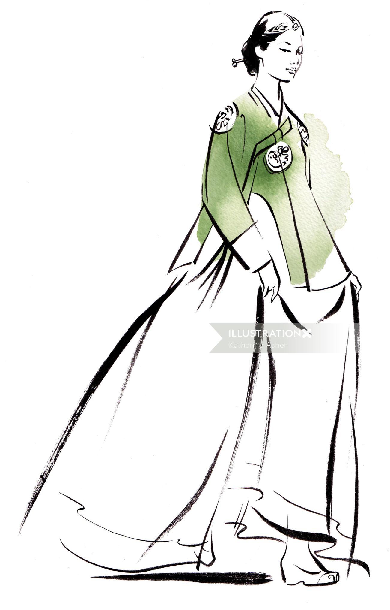 Hanbok fashion illustration by Katharine Asher