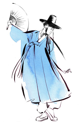 Durumagi korean dress illustration by Katharine Asher