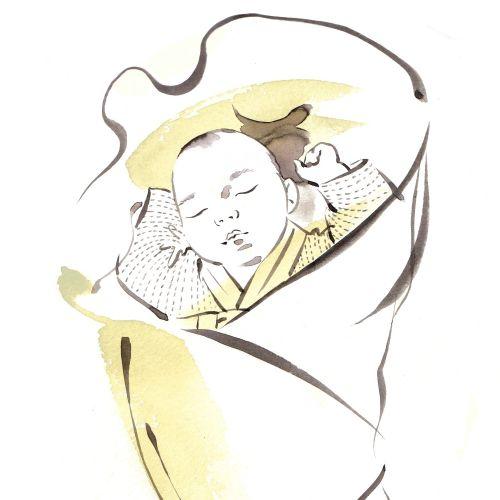 Sleeping baby illustration by Katharine Asher