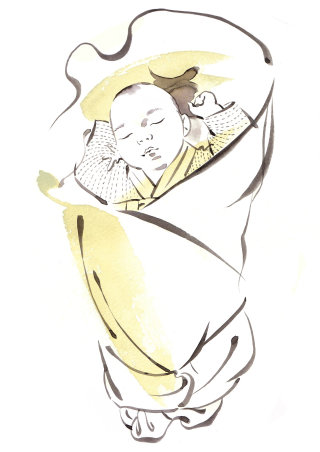 Sleeping baby illustration by Katharine Asher