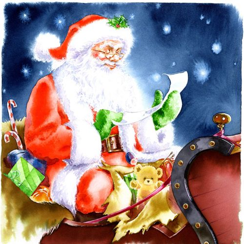 Water colour painting of Father Christmas