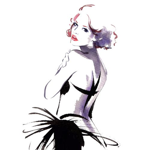 Lady fashion illustration by Katharine Asher