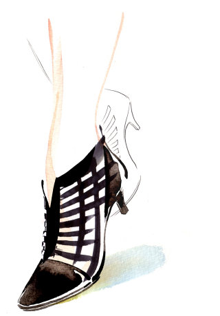Lady footwear illustration by Katharine Asher