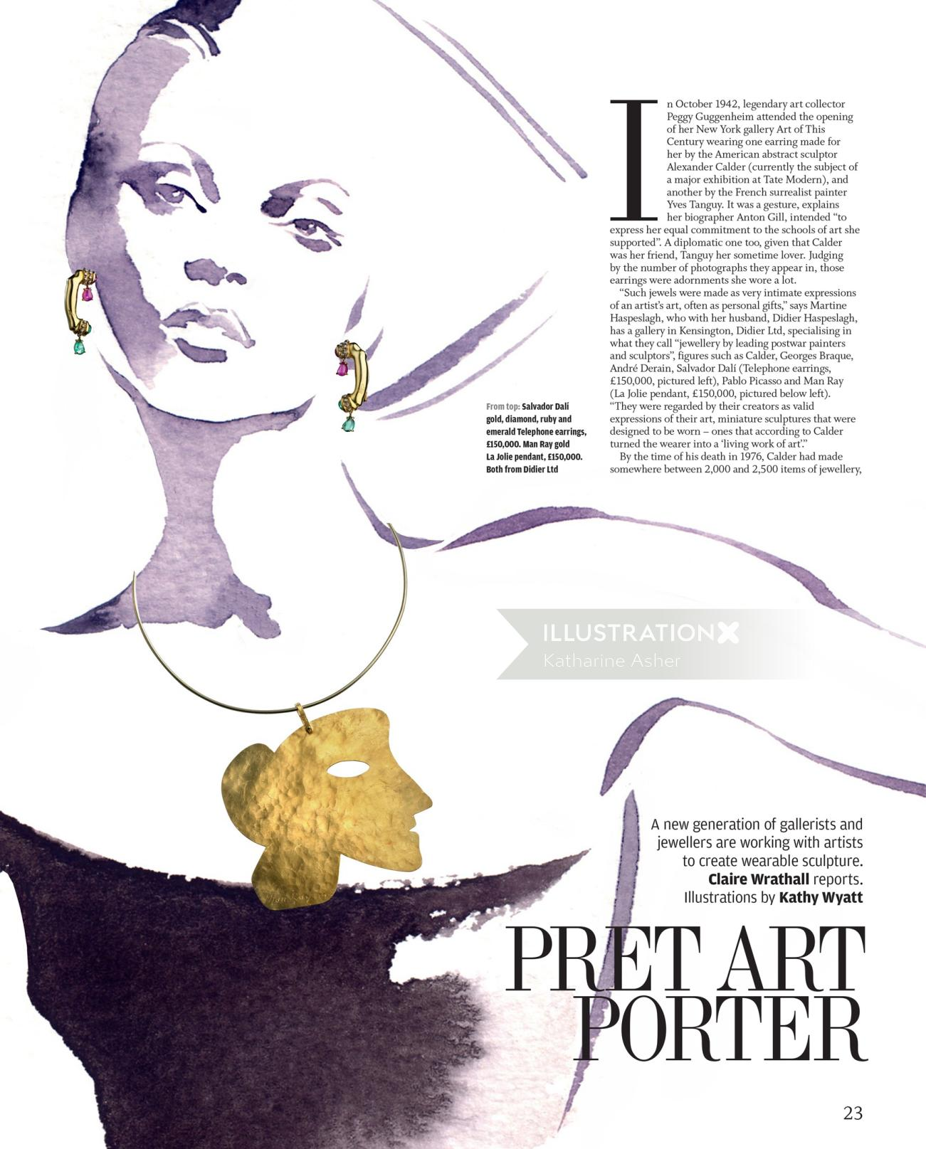Illustration for fine art Jewellery by Katharine Asher