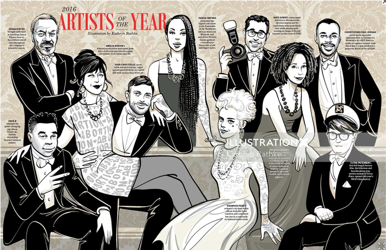 Illustration of 2016 Artists of the year
