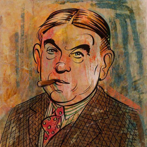 Painting of old man smoking cigar
