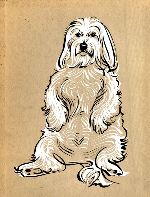 line drawing of silly dog