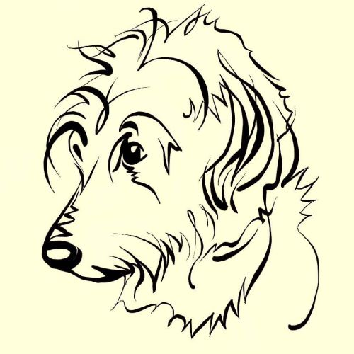 Line art of Labra-doodling