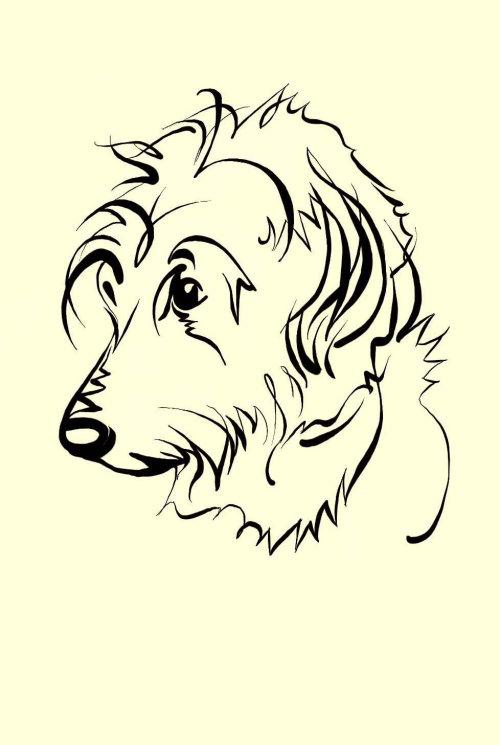 Line art of Labra-doodling