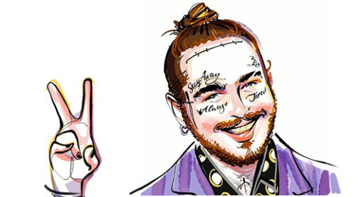 Animation of Post Malone getting tattoo