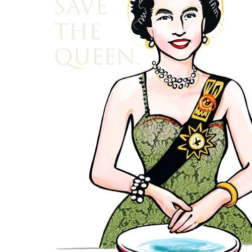 Queen Elizabeth washes her hands