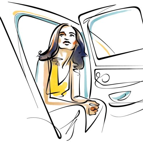 Line drawing of Girl in a car