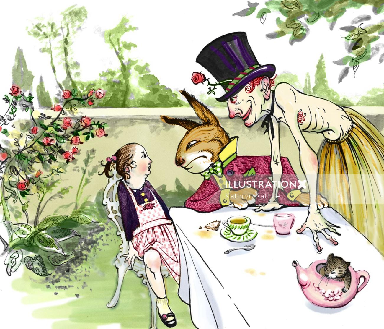 Madhatters Tea Party Cartoon