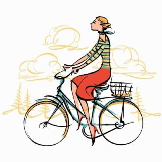 Graphic design of girl riding a bicycle