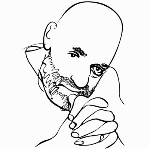 Line art portrait of Shel Silverstein