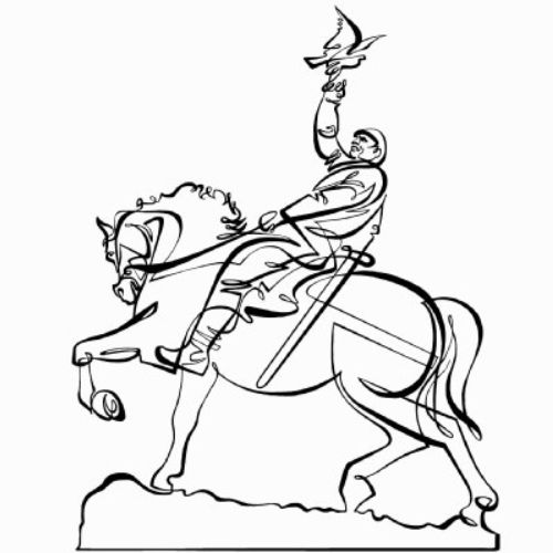 Man on Horse Line art