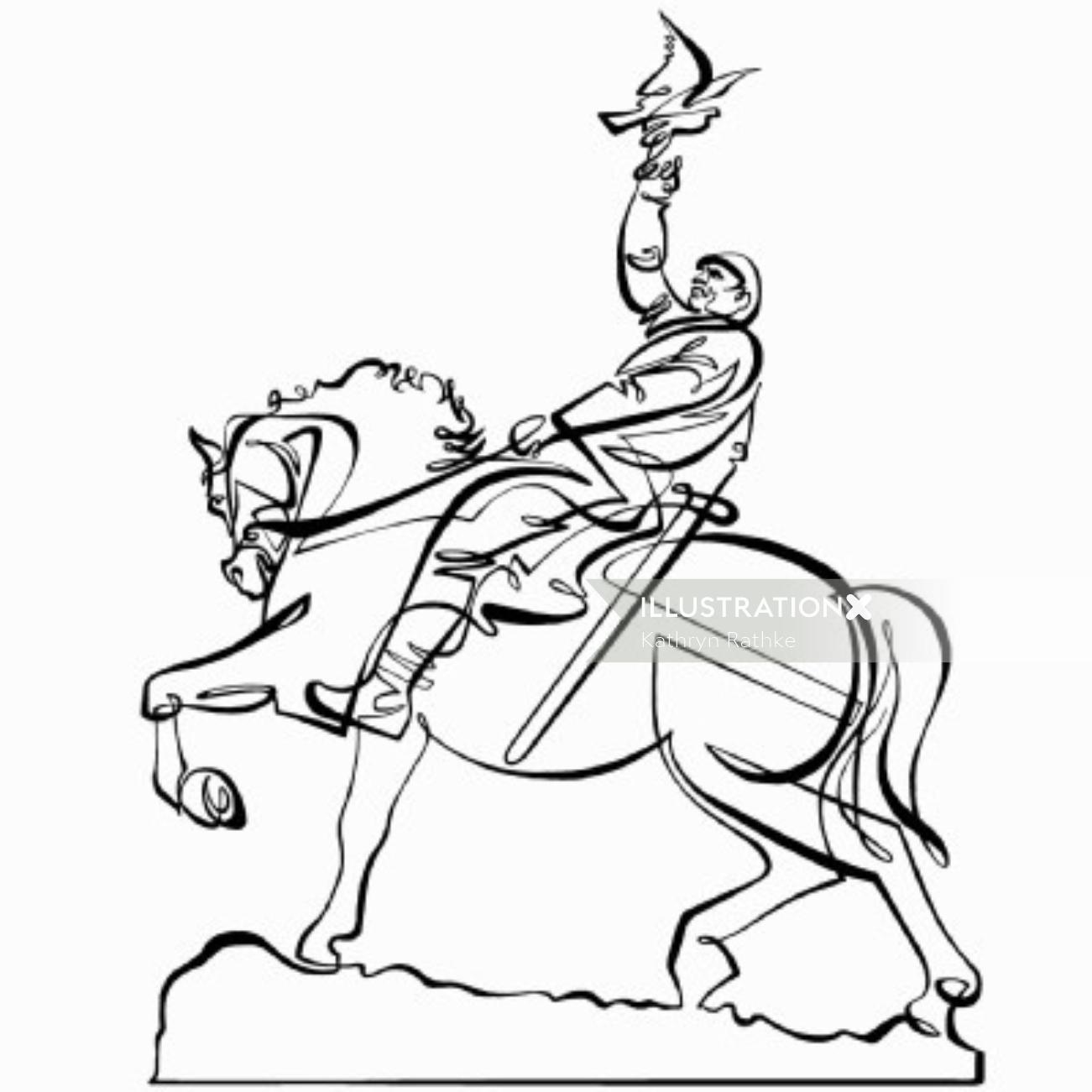 Man on Horse Line art