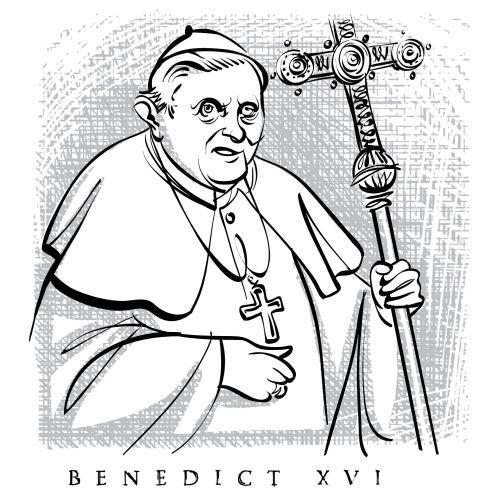 Pope ratzinger sketch by Seattle based illustrator