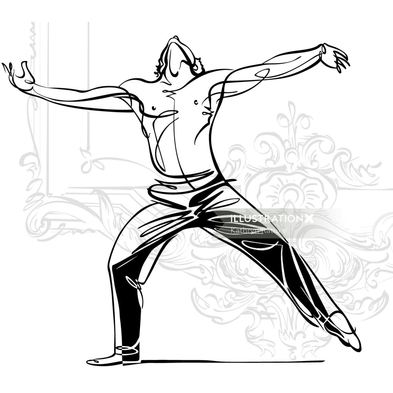 Male ballet dancing sketch