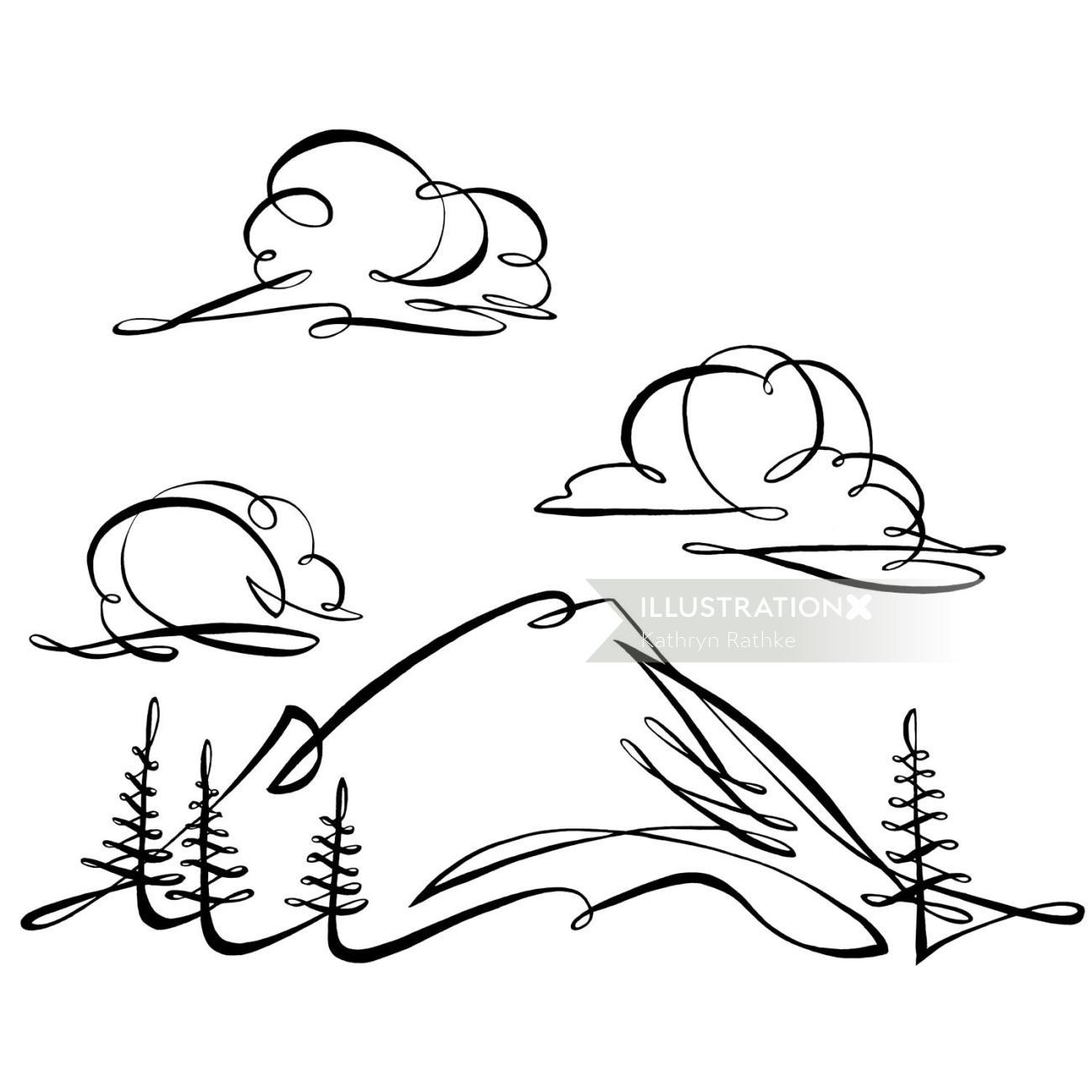 Line illustration of Evergreen State Bank card image