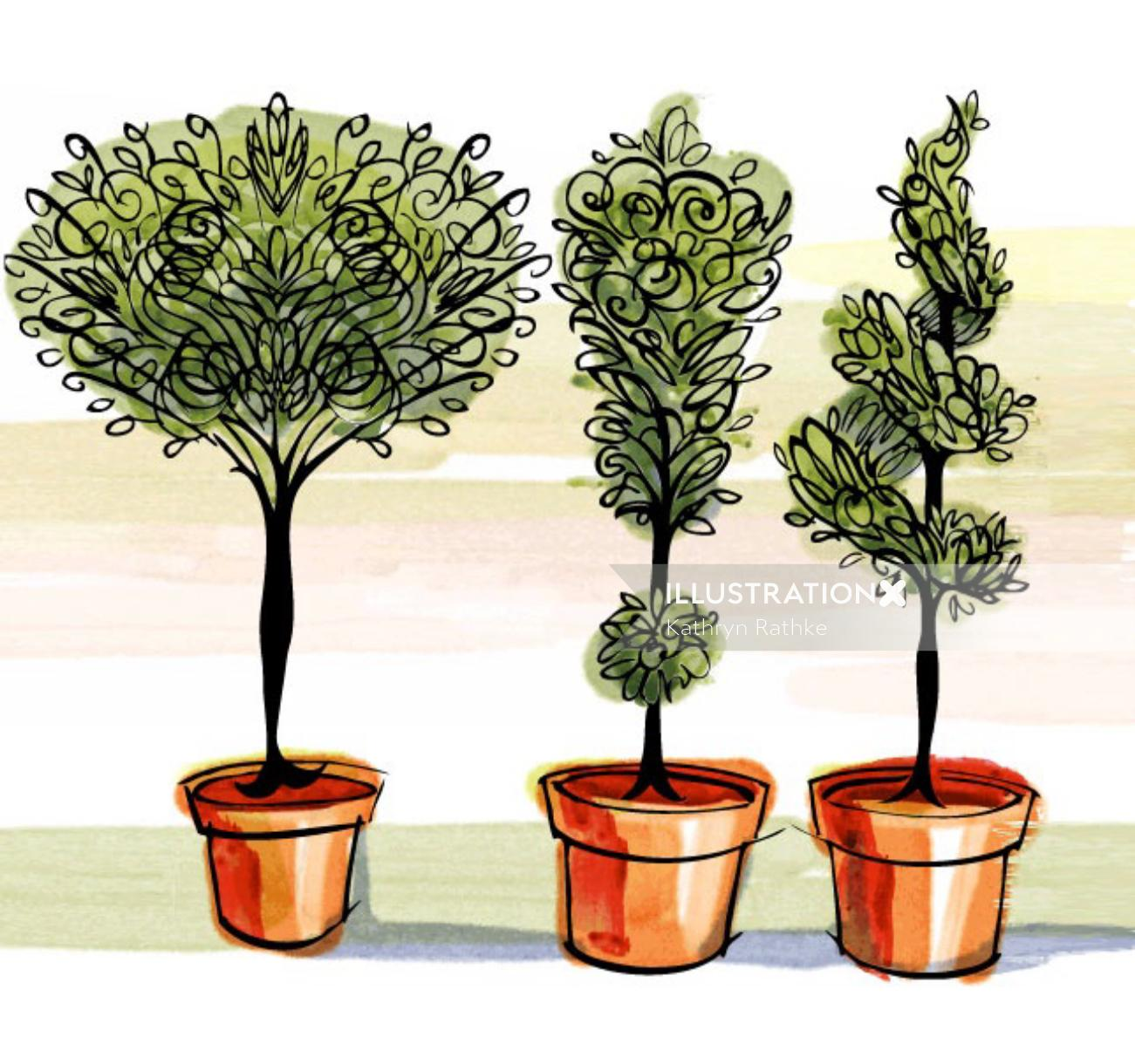 Painting of shrub plants
