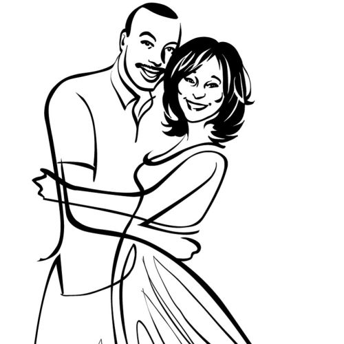 Engaged couple line art
