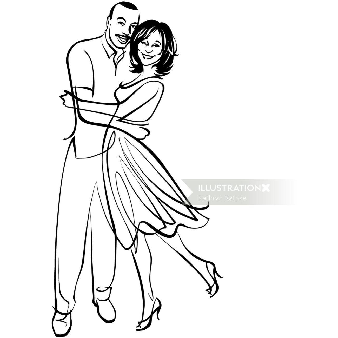 Engaged couple line art