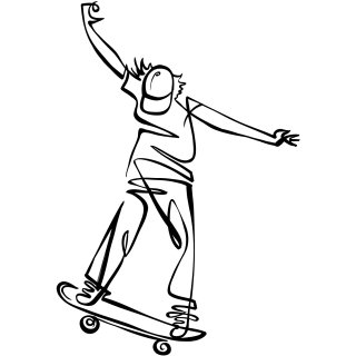 Young man skateboarding line art