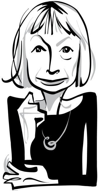 Black and white portrait of Joan Didion