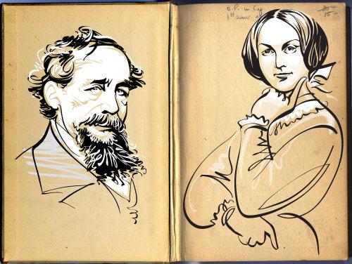 Charles Dickens & Charlotte Bronte Portrait