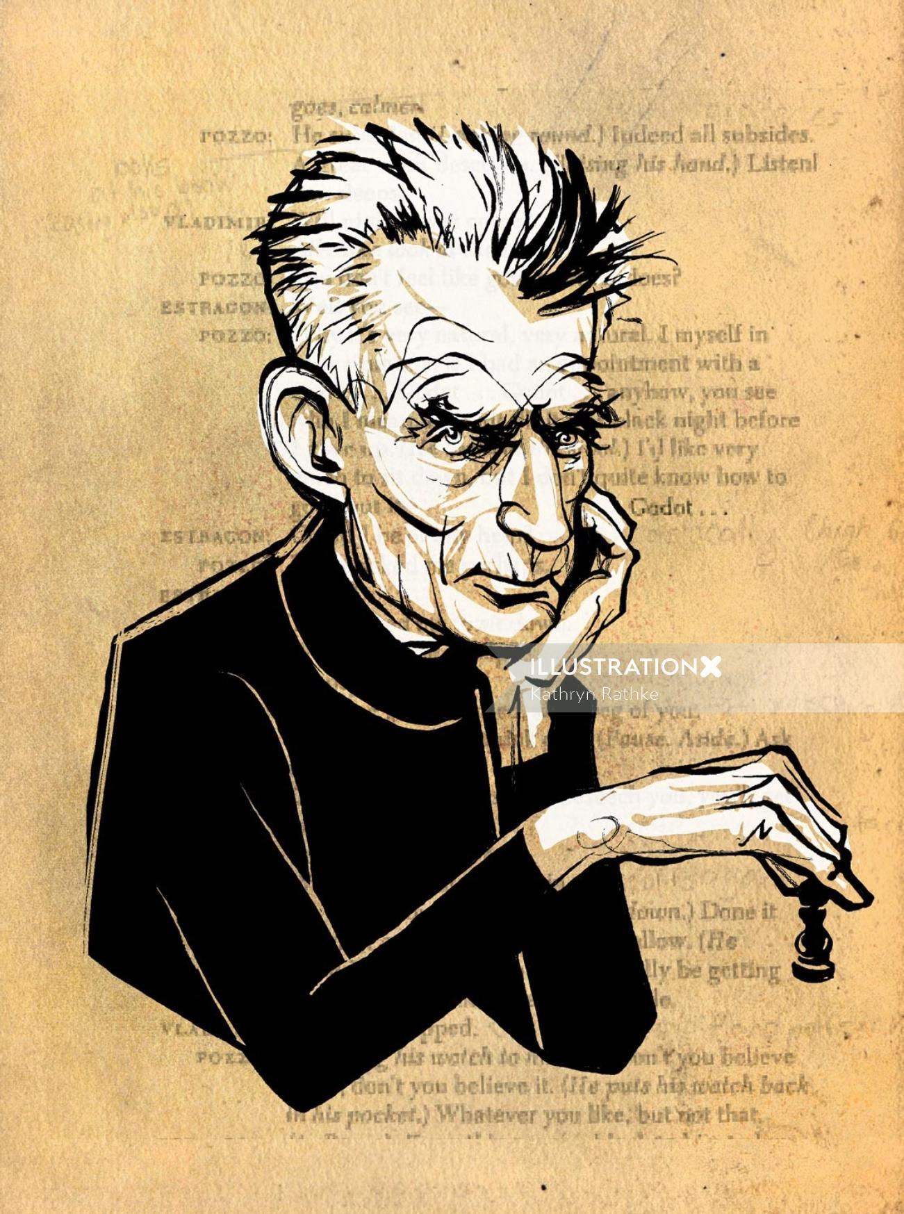 Samuel Beckett playing chess