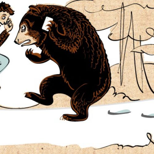 Children's book illustration of man & bear