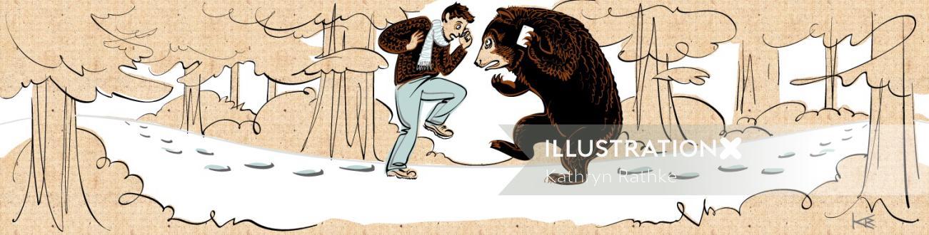 Children's book illustration of man & bear