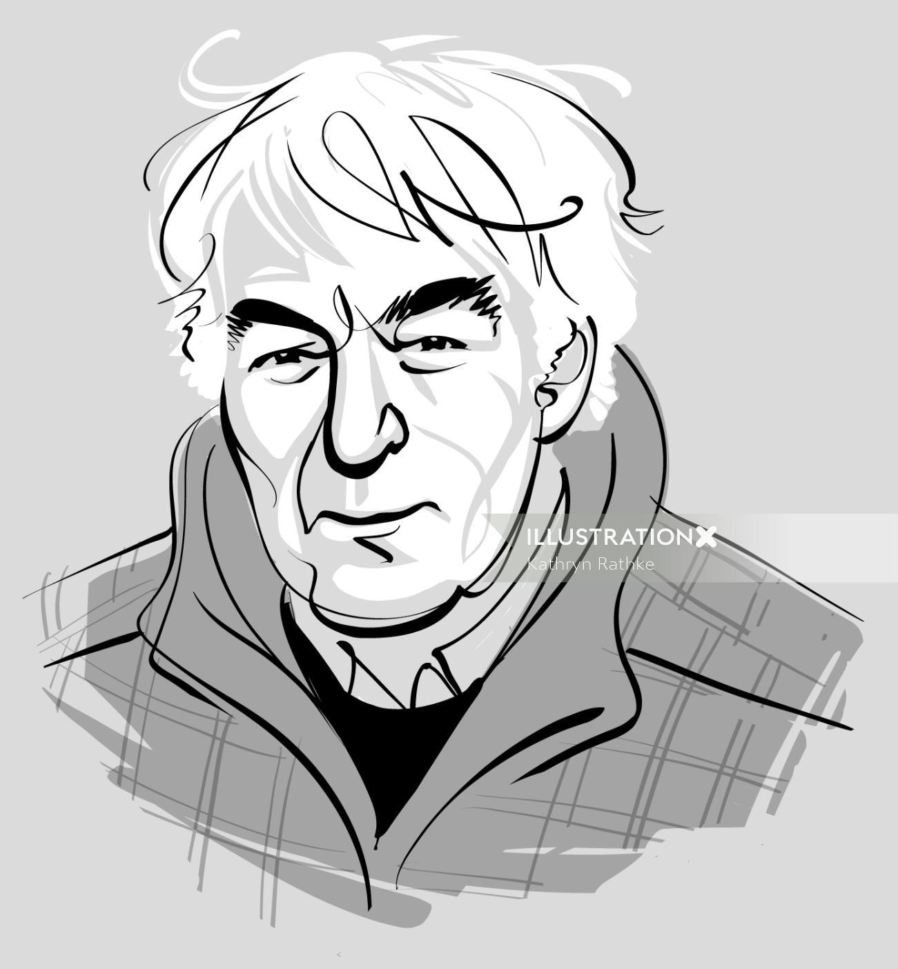 Black & White Portrait of Seamus Heaney