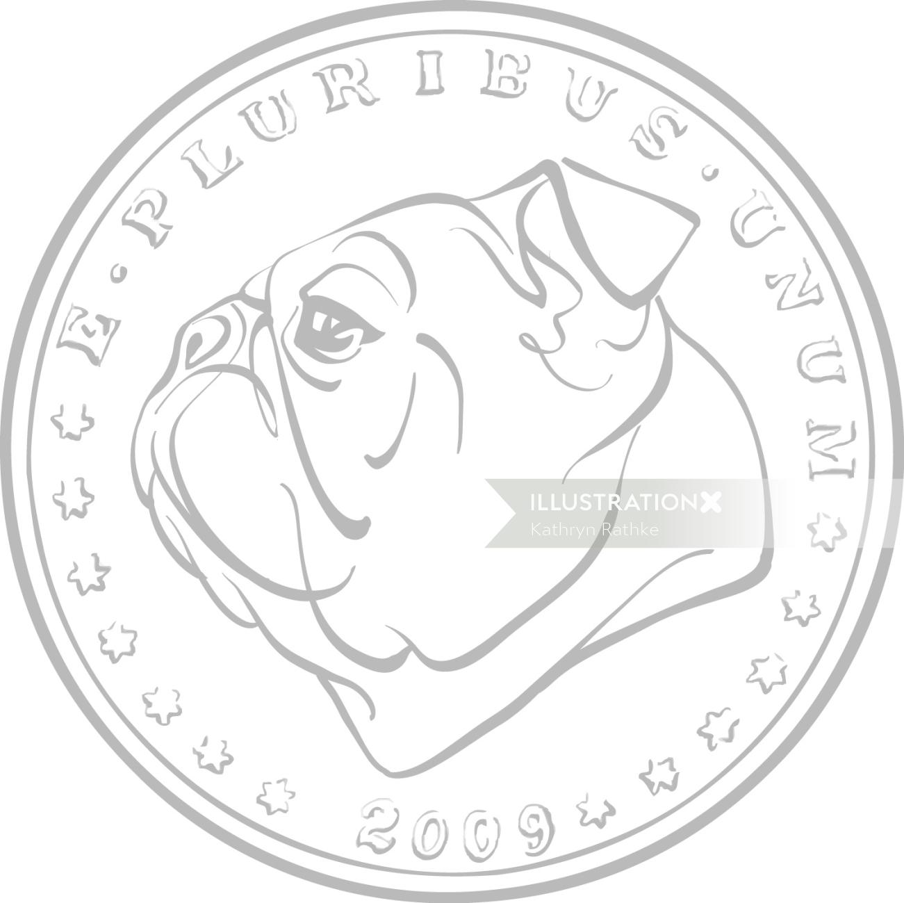 Coin with dog face
