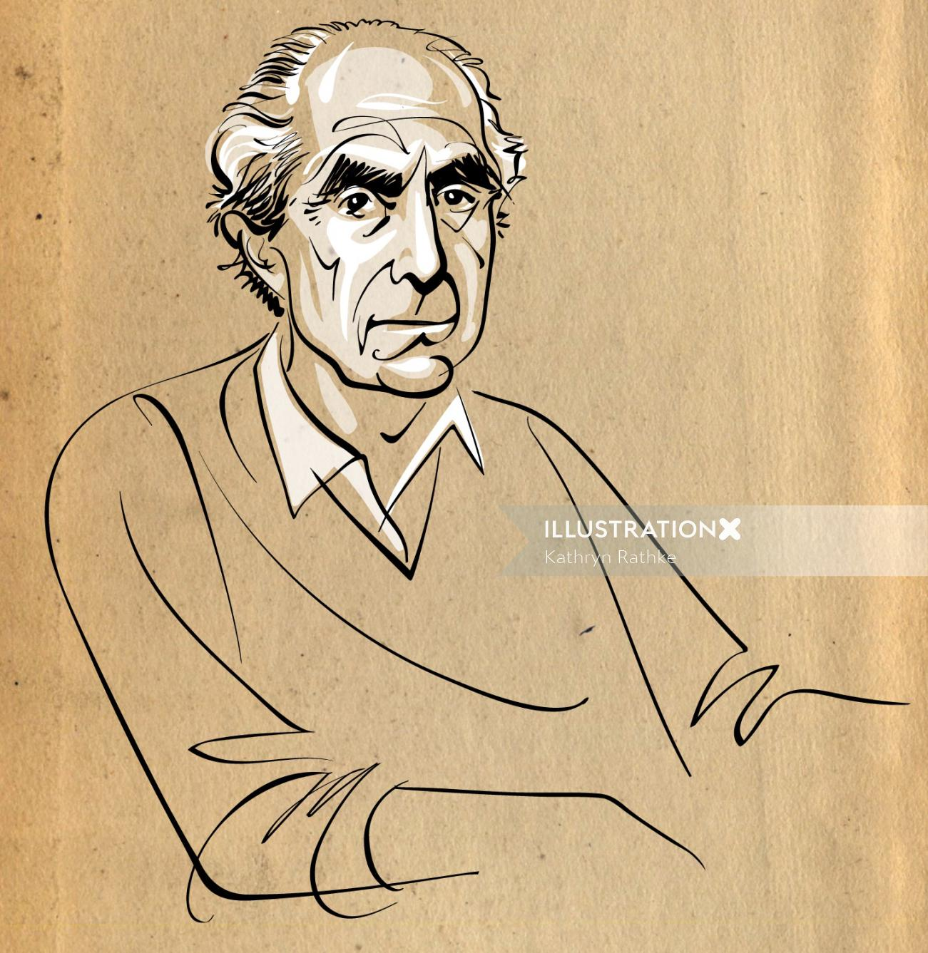Vector line art of Philip Roth