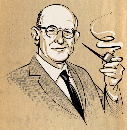 P.G. Wodehouse holding pipe