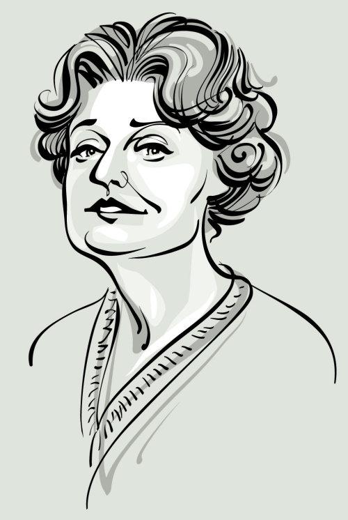 Muriel spark line art par un illustrateur basé à Seattle