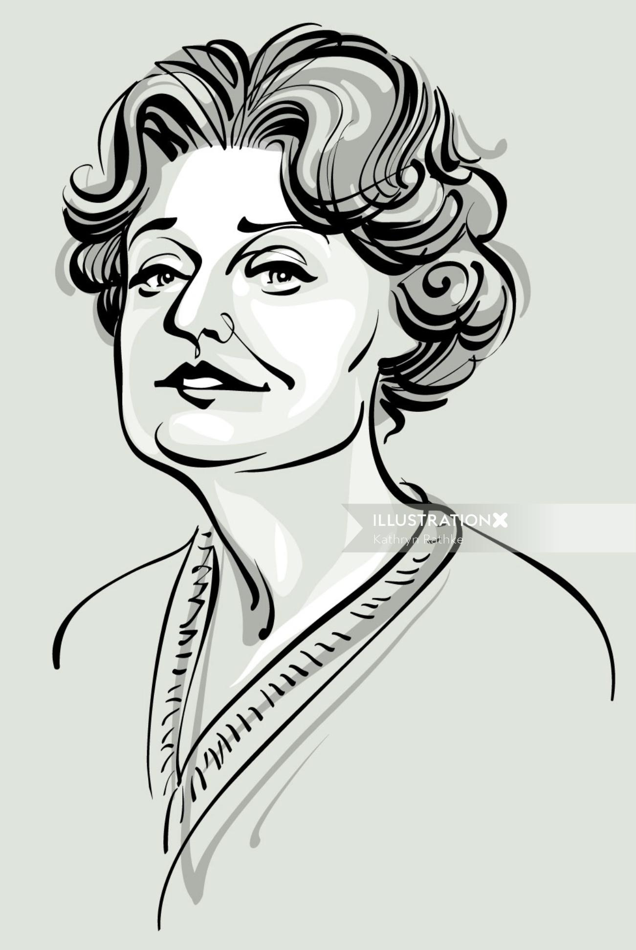 Muriel spark line art by Seattle based illustrator