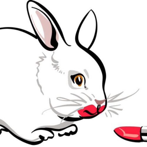 Line art of rat and red lipstick
