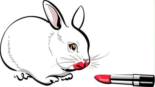Dessin au trait de rat et rouge à lèvres