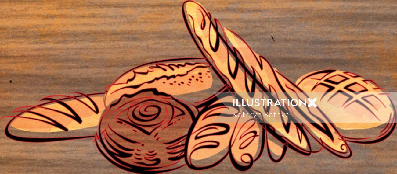 Food illustration of bread