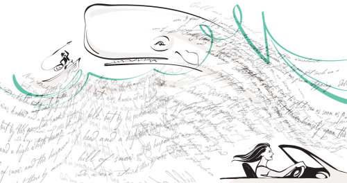 Man hunting Animal Whale black and white illustration