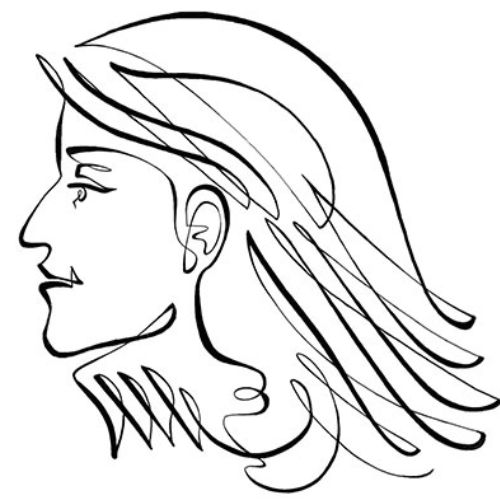 Animation line drawing of woman