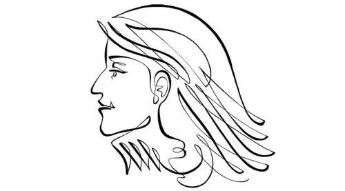 女人的动画线描