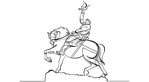 Animated line drawing of a famous statue