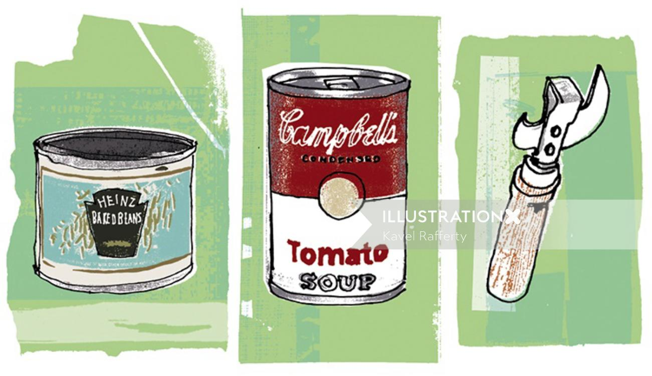 Collage of Tin cans