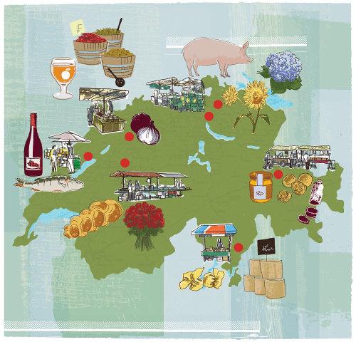Ilustración del mapa del mercado suizo