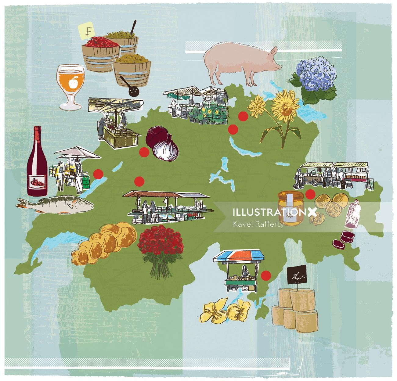 Swiss market map illustration